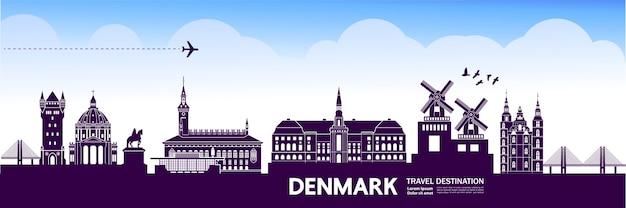 Denmark travel destination. Premium Vector