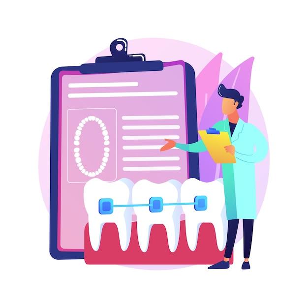 Иллюстрация абстрактной концепции стоматологических скоб. стоматологическая процедура, метод коррекции брекетов, лечение скученных зубов, ортодонтическая проблема, выравниватель и ретейнер, абстрактная метафора брекетов. Бесплатные векторы
