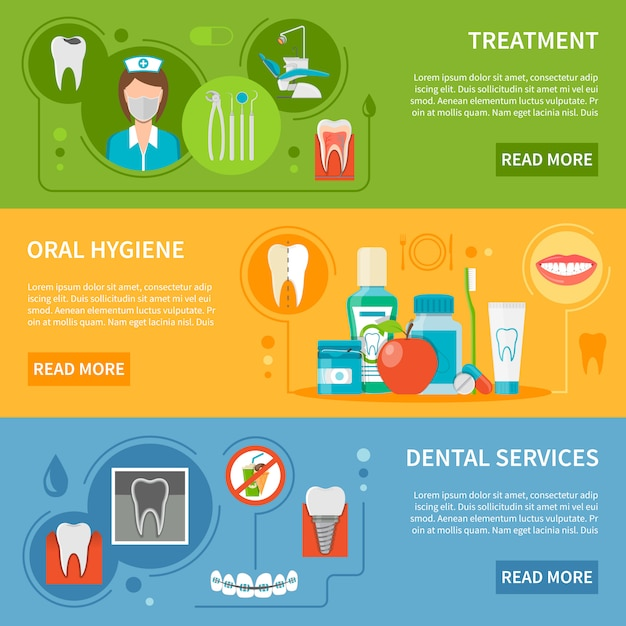 Dental care banners set Free Vector