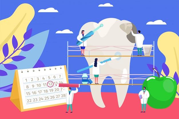 Стоматологическая помощь, мультфильм крошечные врачи люди на работе, осмотр стоматолога для проблемы с зубом фоне Premium векторы