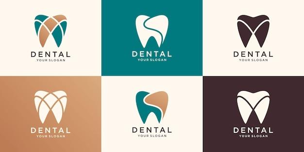Dental care icon logo template Premium Vector