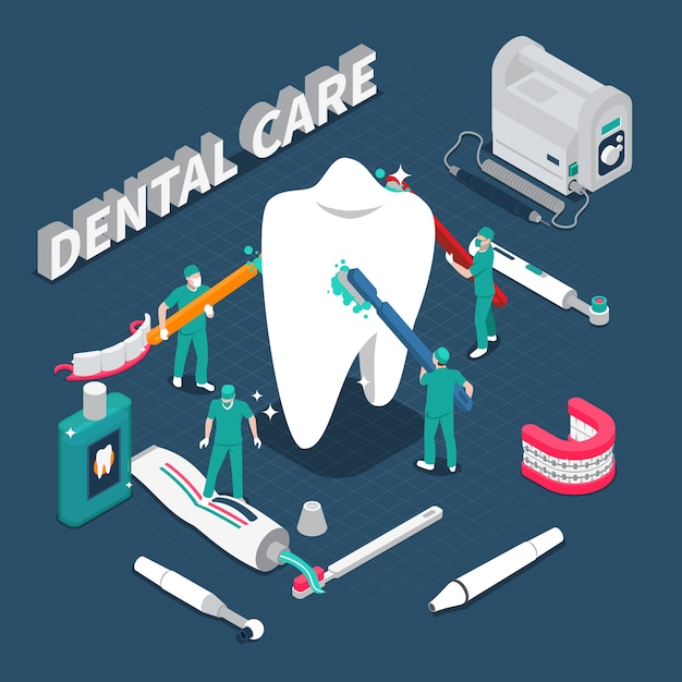 Dental care isometric vector illustration Free Vector