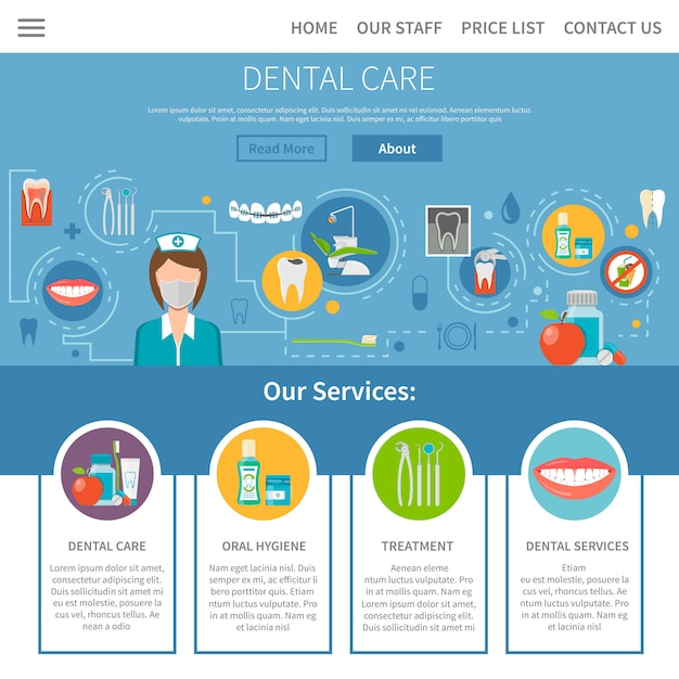 Dental care page design Free Vector