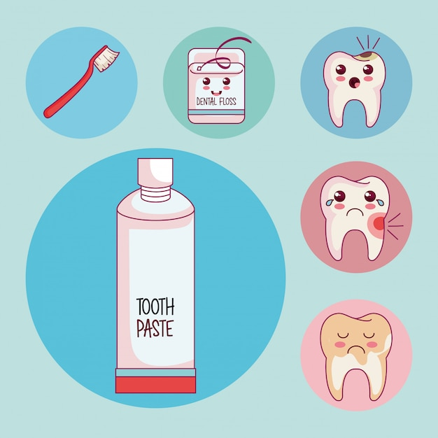 Dental care set icons Free Vector