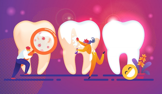 Dental care tiny people characters concept Premium Vector