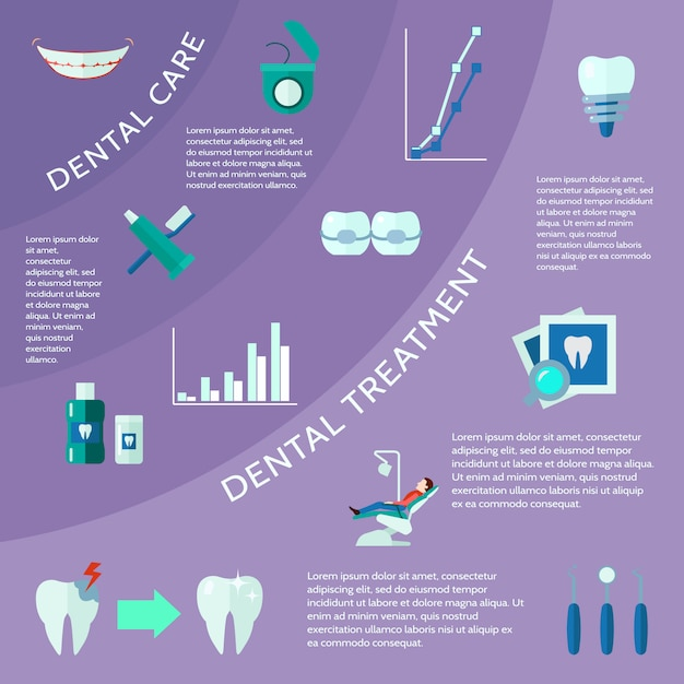 Dental care and treatment with accessories tools and symbols Free Vector