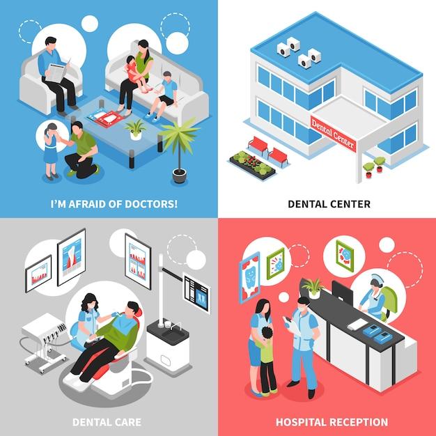 Dental center  isometric Free Vector