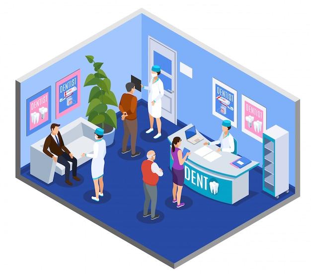 Стоматологическая клиника, приемная, зал ожидания, изометрическая композиция с пациентами на стойке регистрации. Бесплатные векторы