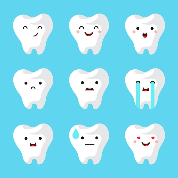 Dental clinic teeth set. Free Vector