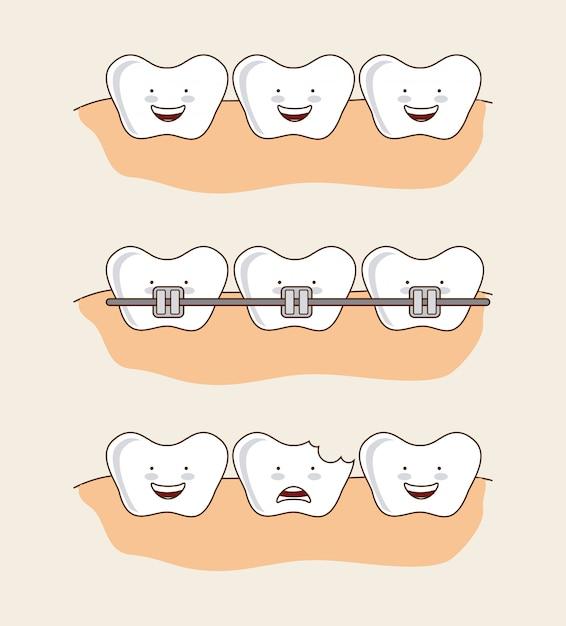 Dental design over pink background vector illustration Premium Vector