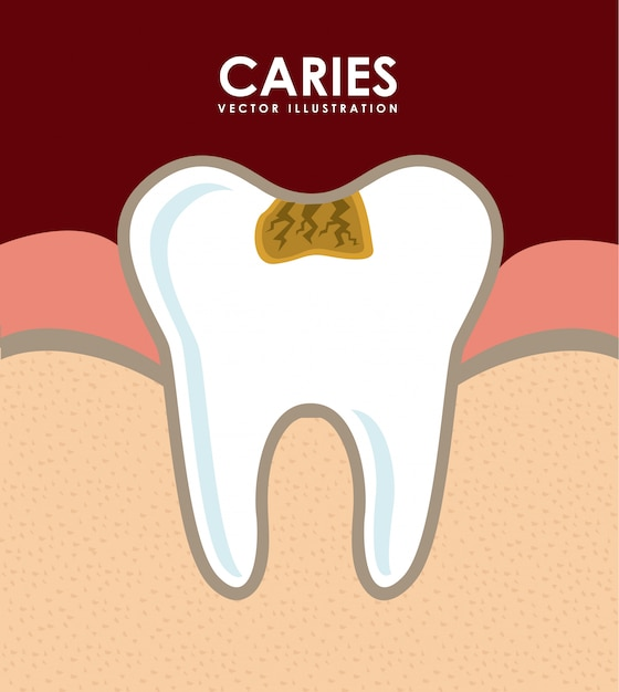 Dental design over red background vector illustration Premium Vector