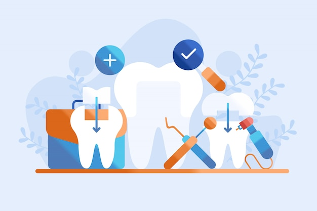 Dental filling illustration Premium Vector