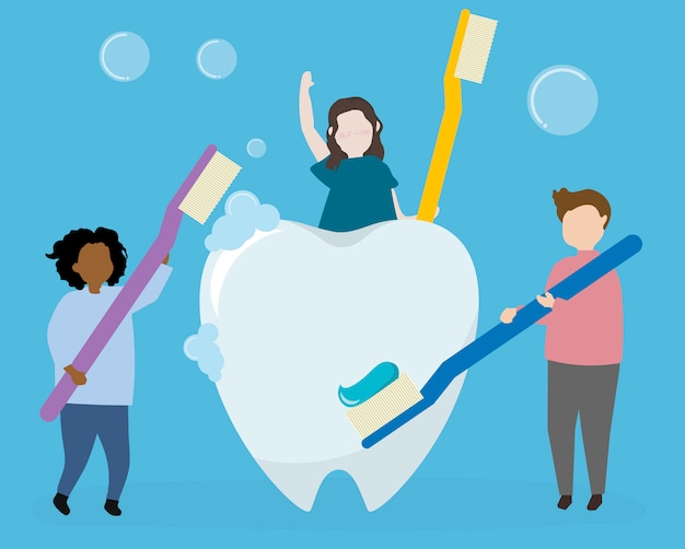Dental hygiene and health care Free Vector