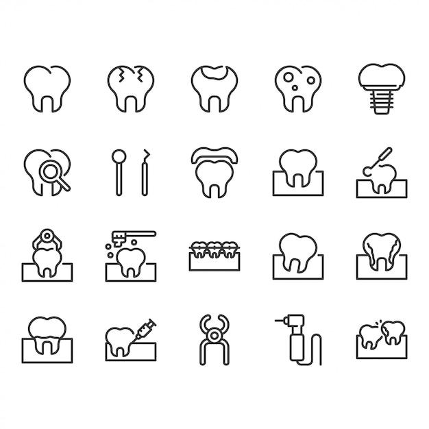 Dental icon set. Premium Vector