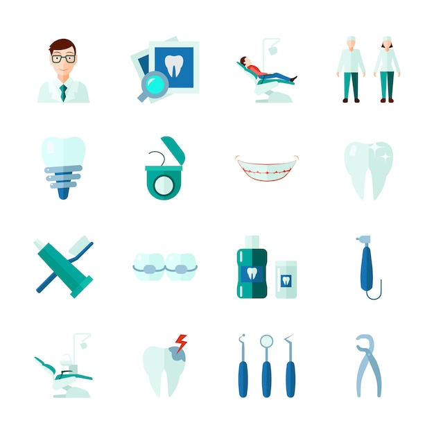 Dental icons set with teeth medical instruments and clinic flat isolated Free Vector