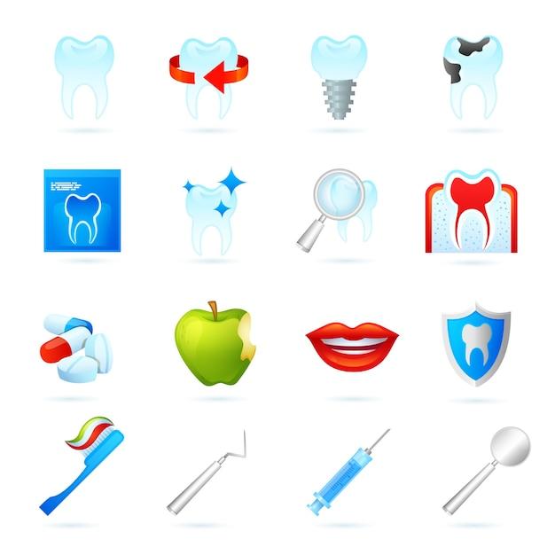 Dental icons set Free Vector