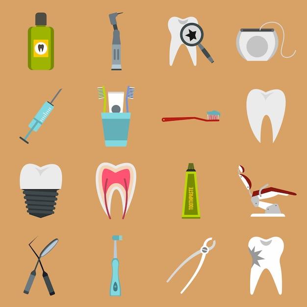 Dental icons set Premium Vector