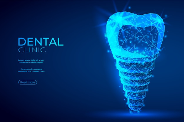 Dental implant polygonal genetic engineering abstract blue banner. Premium Vector