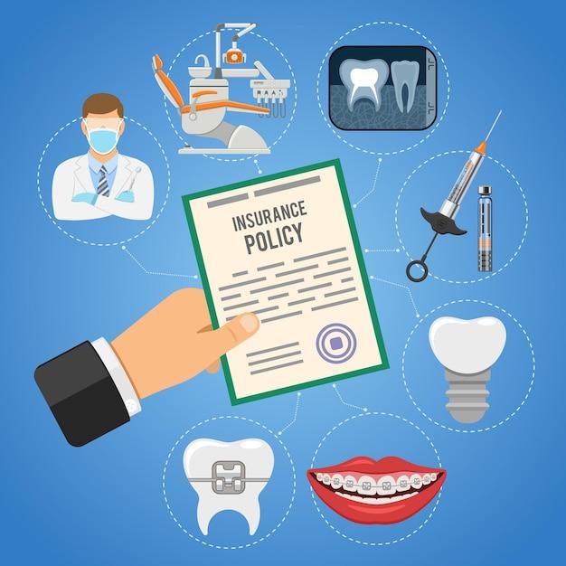 手持ちの歯科保険サービスは保険証券と歯科医を保持します Premiumベクター