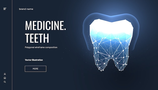 Dental landing page in polygonal wireframe style Premium Vector