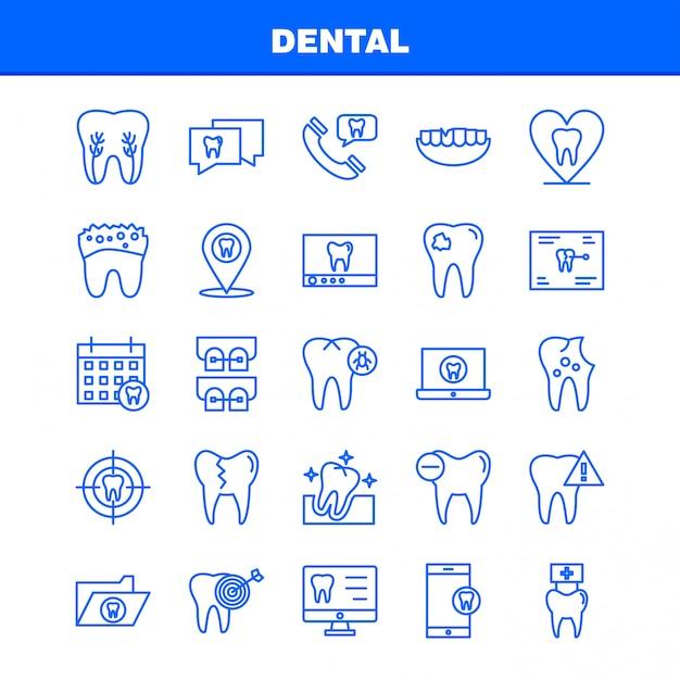 Dental line icons set for infographics, mobile ux/ui kit Premium Vector
