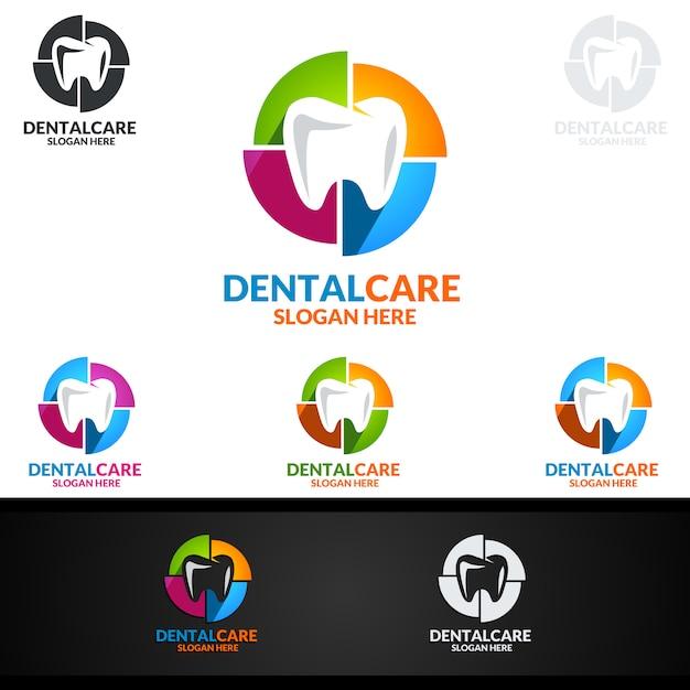 Dental logo, dentist stomatology logo Premium Vector