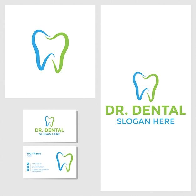 Dental logo design inspiration with business card mockup Premium Vector
