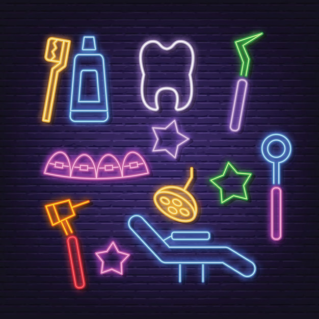 Dental neon icons set Premium Vector