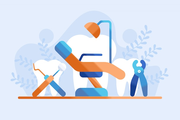 Dental practice concept illustration Premium Vector