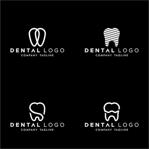 Dental premade logo monogram simple teeth set Premium Vector