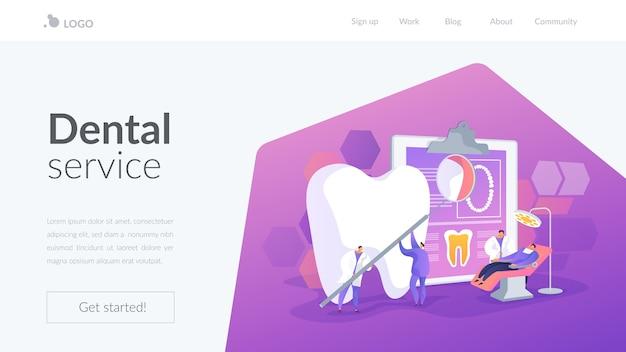 Modello di pagina di destinazione del servizio odontoiatrico Vettore gratuito