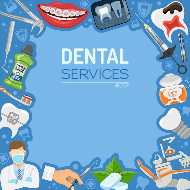 Dental services banner and frame Premium Vector
