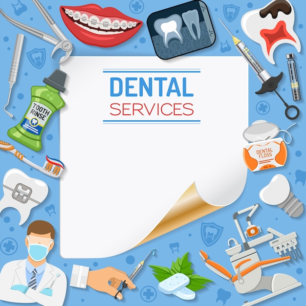 Dental services frame Premium Vector
