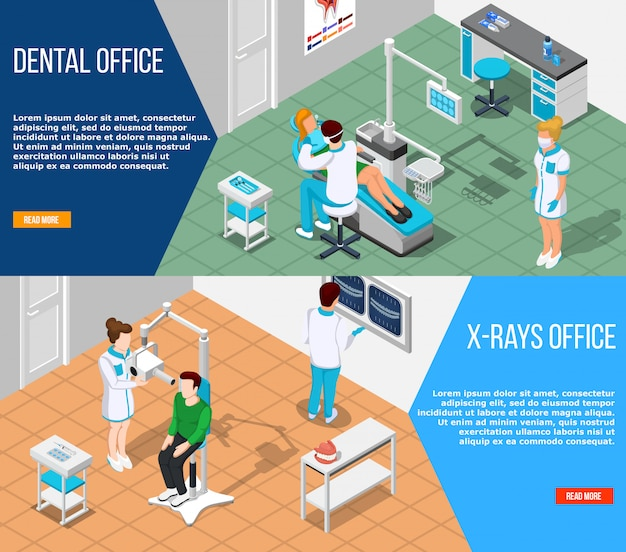 Dental solutions banners set Free Vector