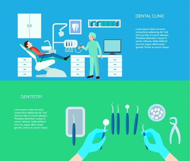 Dental tools doctor and clinic scene flat color horizontal banner set Free Vector