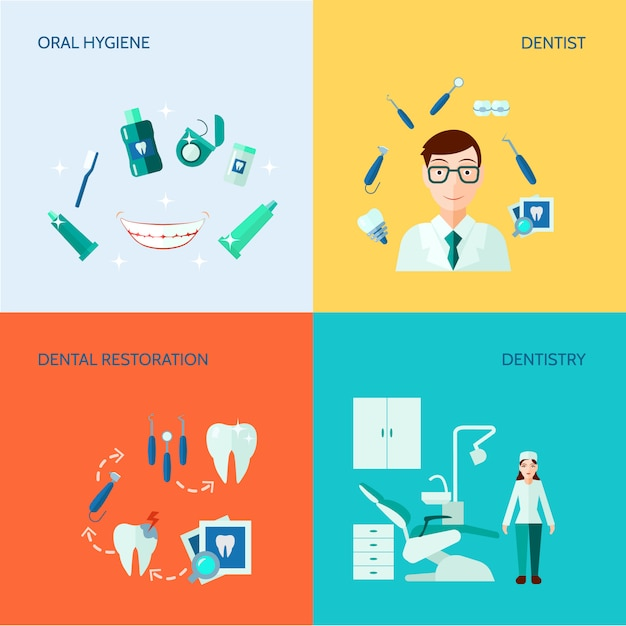 Dental treatment care and oral hygiene banner set Free Vector