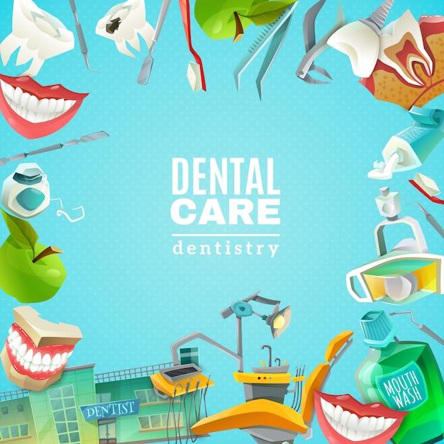 Dentals care flat frame background poster Free Vector