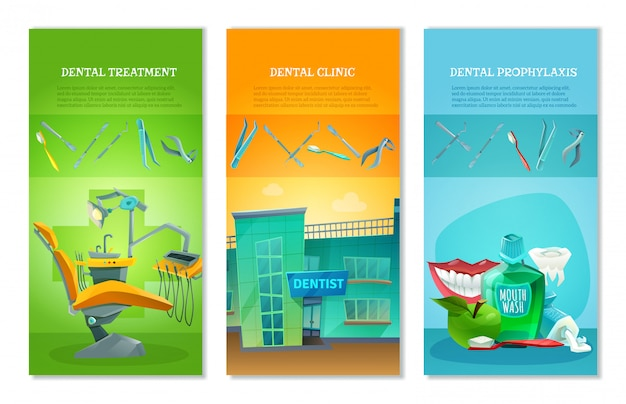 Dentist 3 flat vertical banners set Free Vector