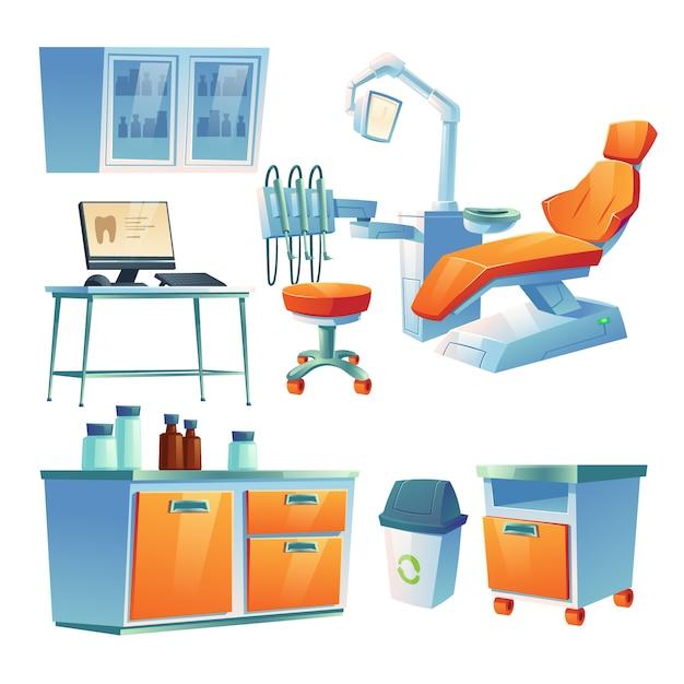 Кабинет стоматолога, стоматологический кабинет в клинике или больнице Бесплатные векторы