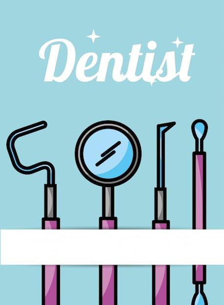Dentist care hygiene tools card Premium Vector