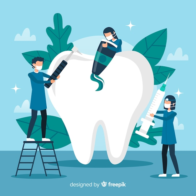 Dentist cleaning big tooth background Free Vector