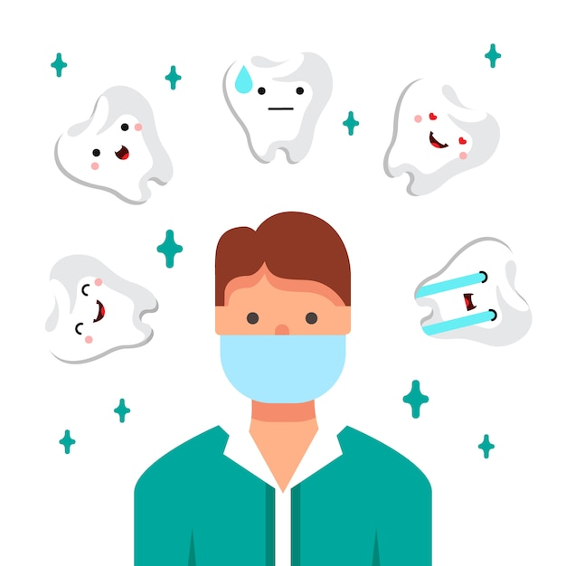 Dentist doctor illustration. young man at his workplace. dental clinic Free Vector