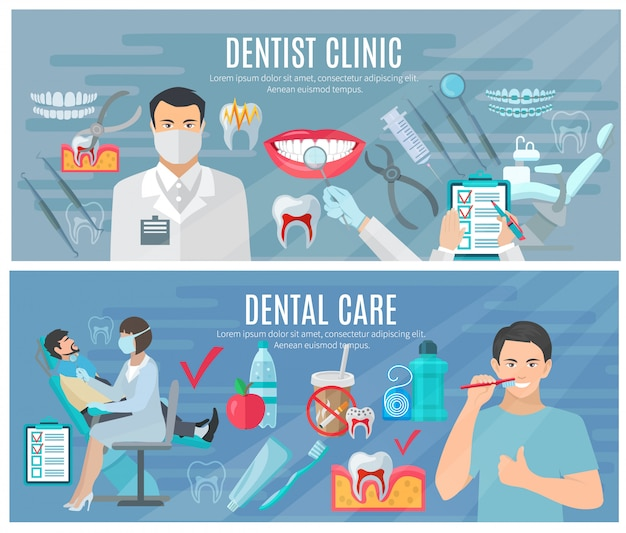 Dentist horizontal banners set with clinic and\ dental care symbols