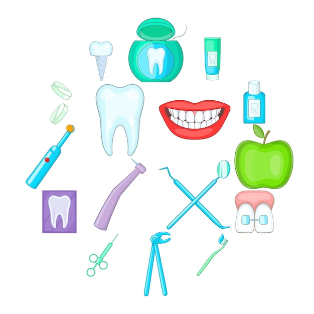 Dentist icon set, cartoon style Premium Vector