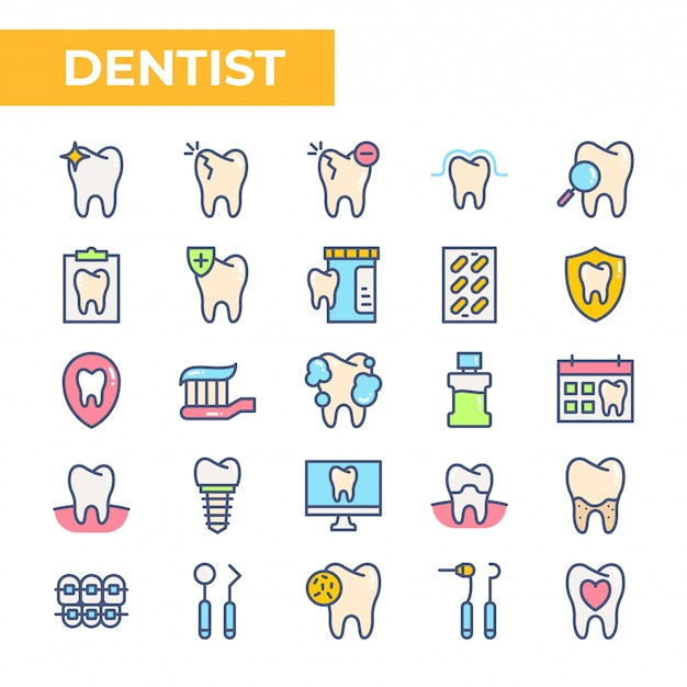 Dentist icon set, filled color style Premium Vector