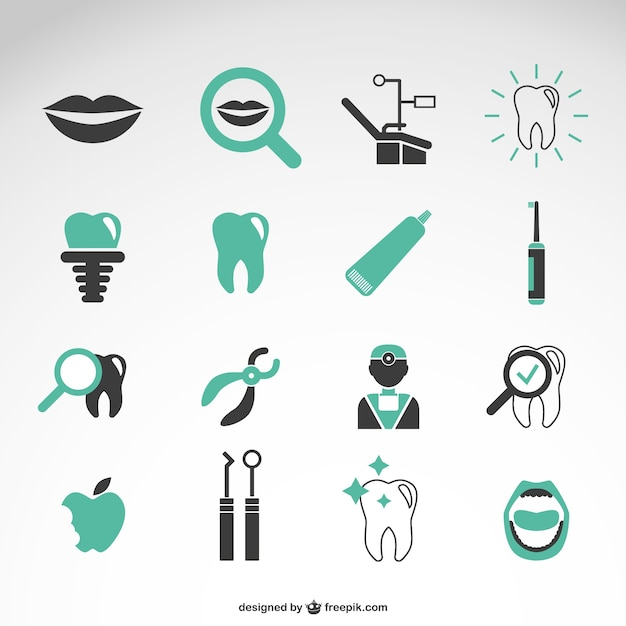 Dentist icons collection Free Vector