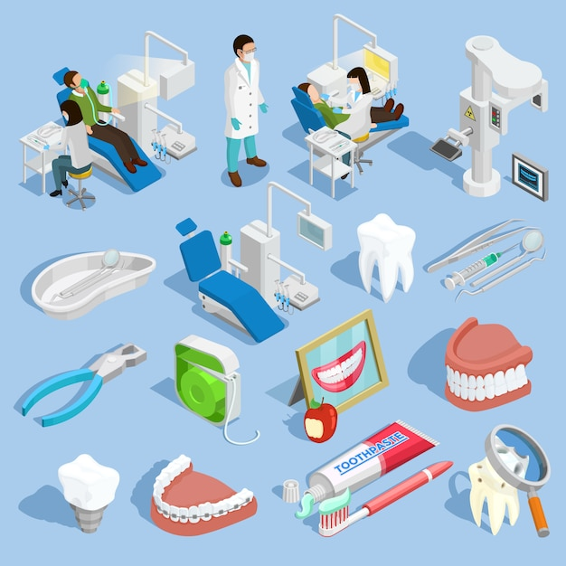 Dentist icons set Free Vector
