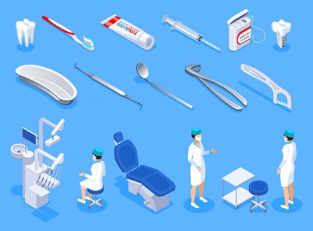 Стоматолог изометрические иконки набор стоматологического оборудования гигиенических изделий имплантат и зубы изолированы Бесплатные векторы