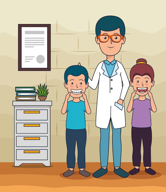 Dentist man and patients children to teeth care Free Vector