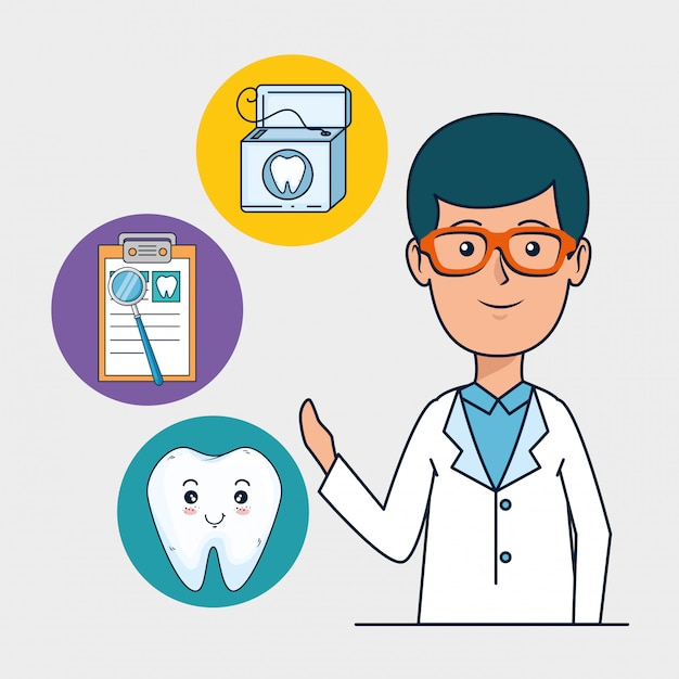Dentist man with tooth diagnosis treatment Free Vector